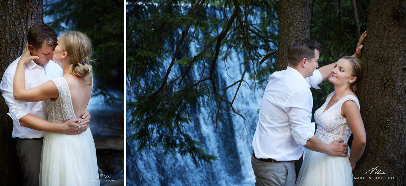 sesja zdjęciowa ślubna w karpaczu dziki wodospad