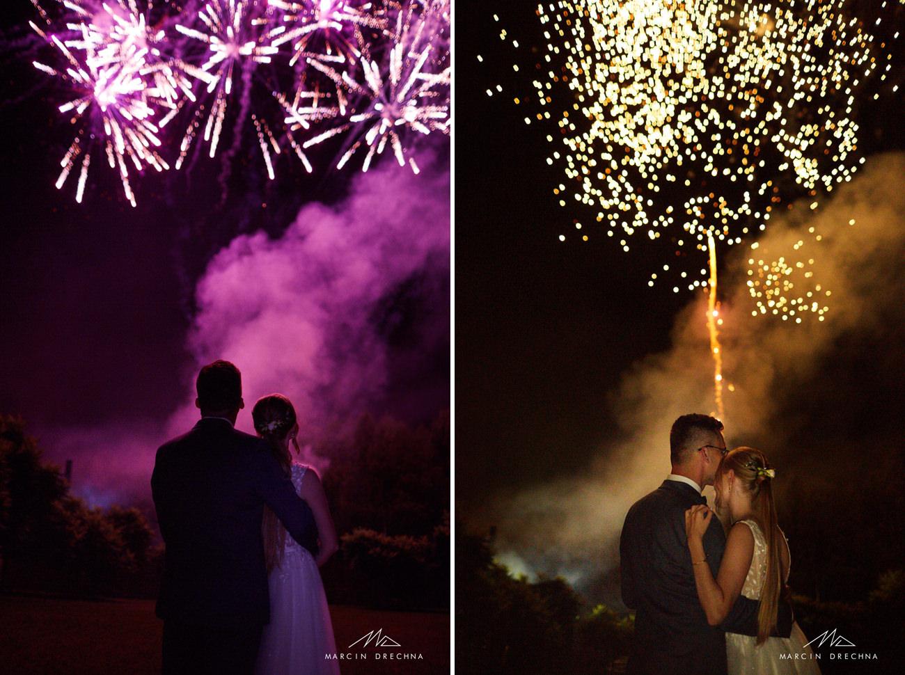 pokaz fajerwerków na weselu
