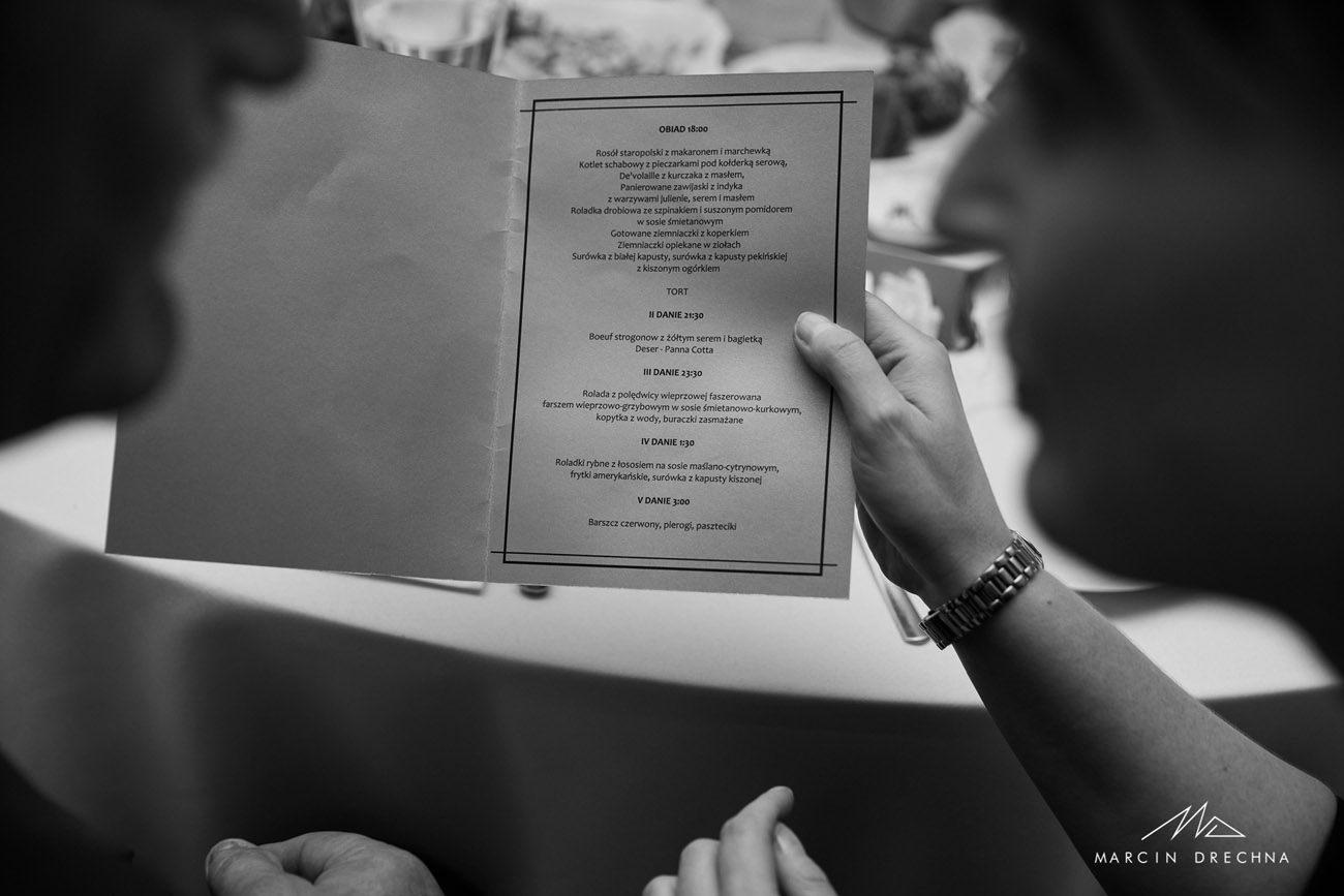 menu weselne biały dworek wolbórz
